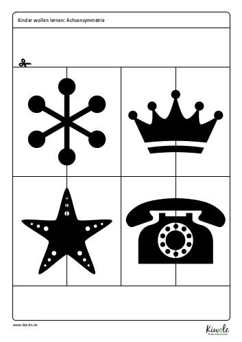 Ein Arbeitsblatt zur Achsensymmetrie mit achsensymmetrischen Figuren und Spiegelachse