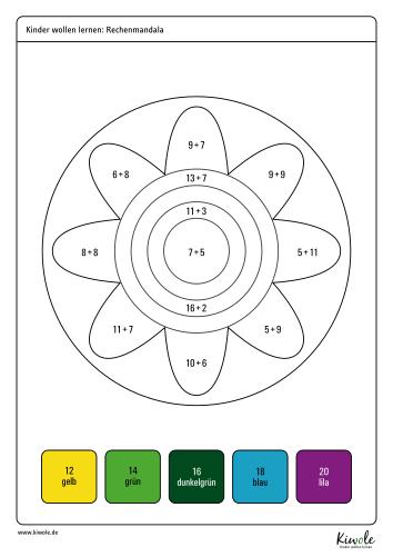 Arbeitsblatt mit Aufgaben zur Addition im Zahlenraum bis 20