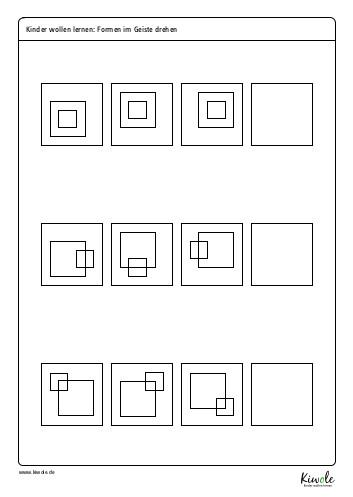 Arbeitsblatt Logikrätsel: Formen im Geiste drehen