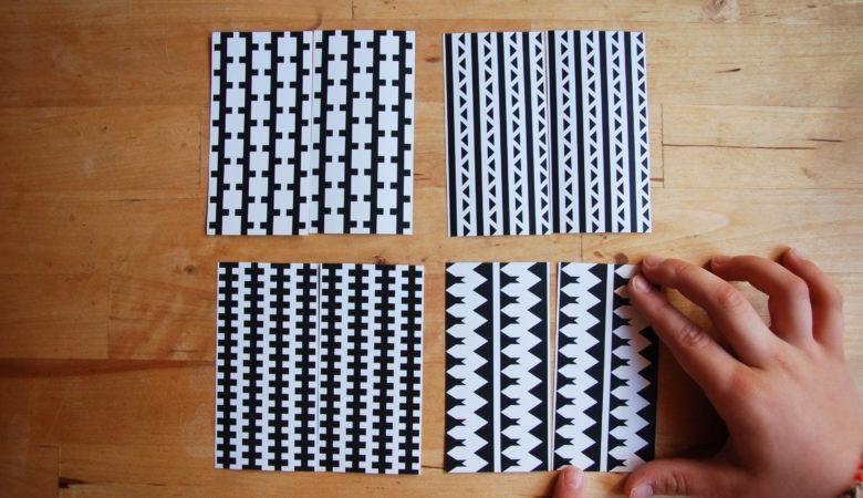 """Foto von einem Kind, welches das Lernspiel """"Strukturen erkennen - Muster sortieren"""" spielt"""