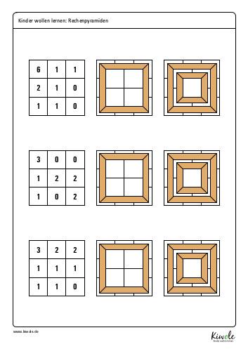 Arbeitsblatt Rechenpyramiden in 3D