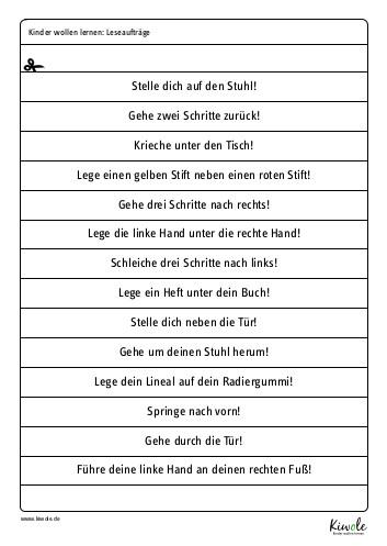"""Arbeitsblatt """"Leseaufträge zur Raumorientierung"""""""