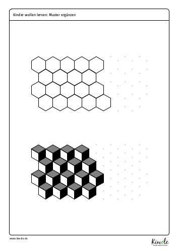 """Arbeitsblatt zum Thema """"Parkettierung mit 3D Mustern"""""""