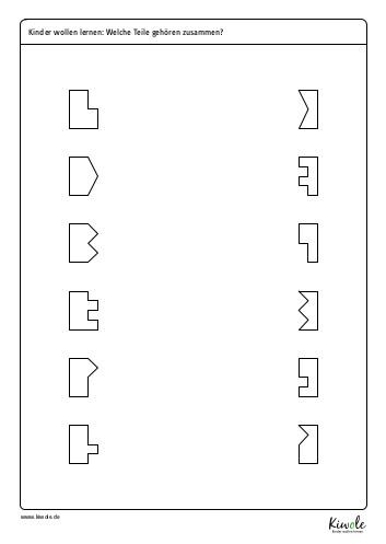 """Arbeitsblatt Kinderrätsel """"welche Teile gehören zusammen?"""""""