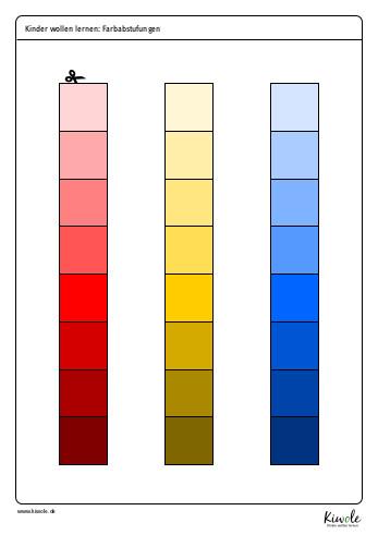Farbkärtchen zum Erlernen der Farbabstufungen