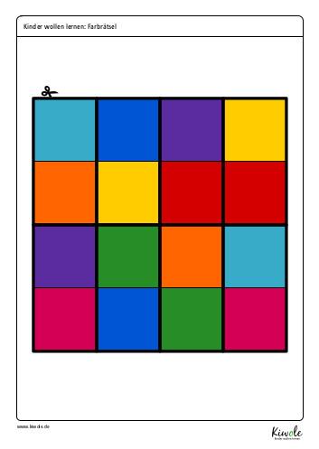 Puzzleteile zum Farbrätsel