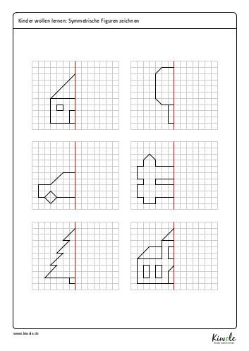 "Arbeitsblatt ""Symmetrische Figuren vervollständigen"""