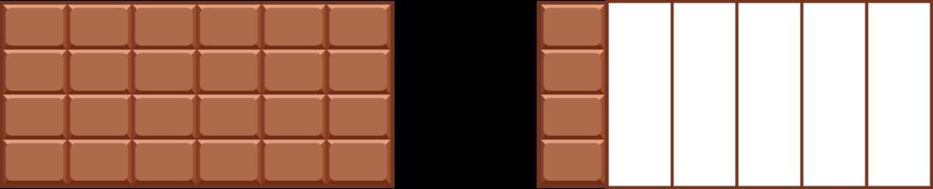 Illustration von einer Schokolade als Hilfestellung zur Subtraktion zweier Brüche
