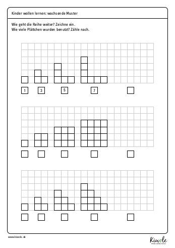 """Arbeitsblatt """"Wachsende Muster – Figurierte Zahlen"""""""