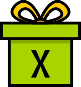 """Illustration eines Geschenks mit der Aufschrift """"x"""" als Symbol für eine Variable in einer Gleichung"""