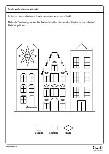 Besondere Vierecke: Arbeitsblatt zur Unterscheidung von Quadrat, Rechteck und Raute