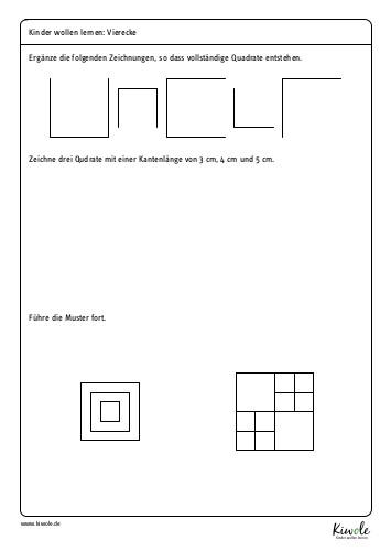 """Arbeitsblatt """"Vierecke zeichenen – Quadrat"""""""